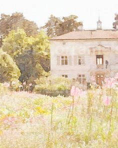 French Country Estate: A Watercolor Fine Art Print, French Garden Cottage Chic Home Decor, LIving Room or Bedroom Print