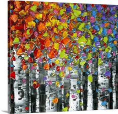 Abstract painting of Birch trees with colorful leaves on a square background. Birch Square Wall Art by Susanna Shaposhnikova.