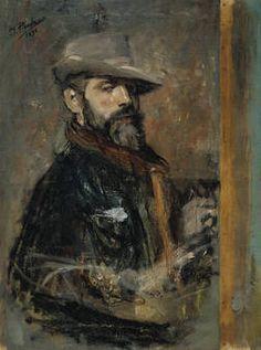"""Ignacio Pinazo Camarlench, """"Autorretrato pintando, o Joven con sombrero"""", 1895, óleo sobre lienzo, 83 x 61 cm"""