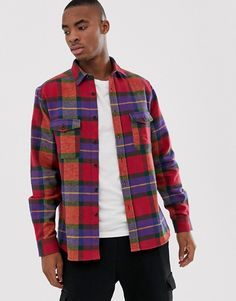 df7cd881946 ASOS DESIGN oversized heavy weight check shirt in red Button Down Shirt,  Buttons, Asos