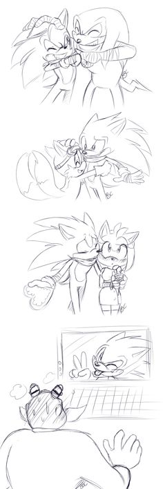 "Sonic from ""Sonic Boom"" spreading Valentine cheer to everyone. Awwwwwww, on Sonic and Amy, and LOL on Sonic and Eggman!"