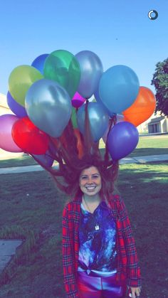 Crazy hair day at school w/ balloons