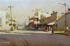 Home - Ross Paterson Watercolor Artists, Watercolor Landscape, Watercolor Paintings, Urban Landscape, Landscape Art, Australian Painters, Paintings I Love, City Art, Colorful Drawings