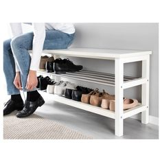IKEA - TJUSIG, Bench with shoe storage, white, Holds min. 8 pairs of shoes. Combines with other products in the TJUSIG series. Shoe Storage White, Bench With Shoe Storage, Diy Shoe Storage, Shoe Rack Bench, Ikea Shoe Bench, Diy Shoe Organizer, Front Door Shoe Storage, Entryway Ideas Shoe Storage, Storage For Shoes