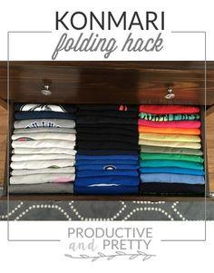KonMari Folding Hack – The Perfect Fold Every Time! – Home Decor Dresser Organization, Wardrobe Organisation, Organization Hacks, Clothing Organization, Clothing Racks, Diy Clothing, Declutter Your Home, Organizing Your Home, Konmari Method Folding