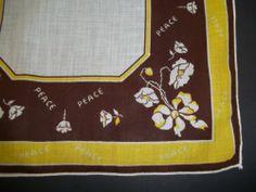 """Vintage Ladies Handkerchief Brown & Yellow """"PEACE"""" Flowers Ribbons"""