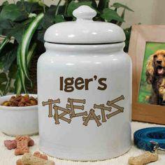 Personalized Ceramic Dog Bone Treat Jar