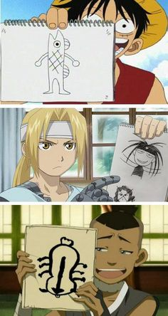 Artistic geniuses. XD I lolled so much when I first saw these in their respective animes/mangas