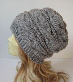 Slouchy Beanie  Women knit hats Gray beanie by selmahandcraft