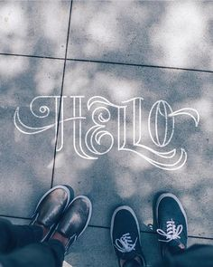 Hello handlettering by Chalk Lettering, Types Of Lettering, Brush Lettering, Lettering Design, Calligraphy Letters, Typography Letters, Typography Quotes, Caligraphy, Learn Calligraphy