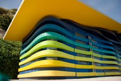 Designed by Peter Lewis and built by Push Studios. Bournemouth, Beach Huts, Stairs, Around The Worlds, Buildings, Architecture, Exhibitions, Home, Design