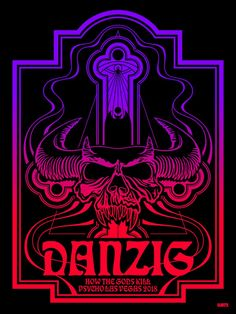 """Danzig"" BLACKLIGHT POSTER Rock Posters, Concert Posters, Gig Poster, Retro Posters, Festival Posters, Band Posters, Music Posters, Dark Artwork, Metal Artwork"