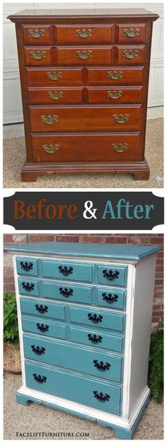 Maple Chest Sea Blue & Off White. Original pulls painted black - Before & After.
