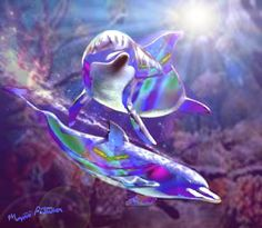 Dolphins | Rainbow Dolphins Digital Art by Marjorie Peterson - Rainbow Dolphins ...
