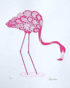 Screen print pink flamingo print 30 x 40cm Limited by print121