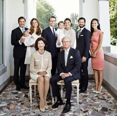 The Swedish Royal family starting front row (L-R) Queen, Silvia, King Carl XVI Gustaf, Mr Christopher O'Neill, Princess Madeleine, Princess Leonore, Prince Daniel Crown, Princess Victoria, Princess Estelle, Prince Carl Philip and his fiancé Sofia Hellqvist