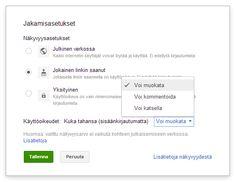 Esimerkki: Google Drive opetuskäytössä - Tampereen seudun TVT-portaali  ●Google Drive  Virtuaalinen muistitikku verkossa. Päiväkodissa työntekijät voivat jakaa esim. docs:n avulla palaverimuistioita ja suunnitelmia. Asiakirjoja voi muokata yhdessä ja jakaa haluamilleen henkilöille, kätevä työkalu myös esimiehille.
