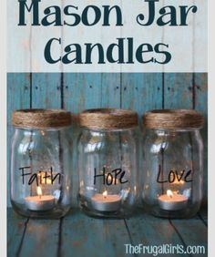Add some fun flair to your mantel with these sweet and simple Mason Jar Christmas Candles! I'm sure you've realized how wildly in love with mason jars I am… Mason Jar Projects, Mason Jar Crafts, Mason Jar Diy, Diy Projects, Bottles And Jars, Glass Jars, Cute Crafts, Diy And Crafts, Diy Lampe