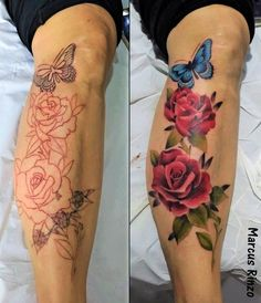 Nature Tattoo Sleeve Women, Sleeve Tattoos For Women, Rose Tattoos, Leg Tattoos, Tattos, Tattoo Ideas, Tattoo Designs, Nature Tattoos, Watercolor Tattoo