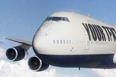 I will put your logo or text on flying jumbo jet airplane