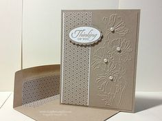 Great card for anything, just switch out the tag, I think it would be a nice sympathy card also. Thank U Cards, Love Cards, Diy Cards, Making Greeting Cards, Embossed Cards, Sympathy Cards, Card Tags, Stampin Up Cards, Cardmaking