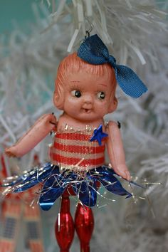 Vintage Style Fourth of July Celluid Doll Ornament. - Ms. Patriotic, Blue Bow