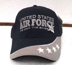 8179b1832cd UNITED STATES AIR FORCE WE OWN THE SKIES Military Vet 100% COTTON Hat 5789  MTEC