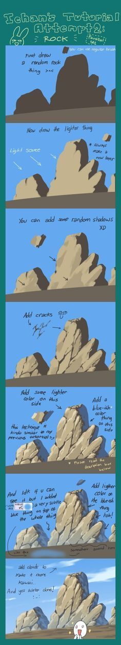 Tutorial Attempt: Rock by ichan-desu reference digital coloring rocks scenery Drawing Techniques, Drawing Tips, Drawing Tutorials, Drawing Reference, Art Tutorials, Painting & Drawing, Drawing Rocks, Design Reference, Matte Painting