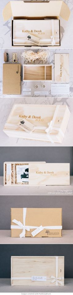 Mary Silvia Photography for Kathy & Derek Packaging PD Wood Packaging, Brand Packaging, Gift Packaging, Packaging Design, Branding Design, Wedding Packaging, Packaging Ideas, Photography Marketing, Photography Packaging