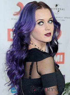 Gotta love the purple hair 2015 Hairstyles, Vintage Hairstyles, Girl Hairstyles, Hair Styles 2014, Hot Hair Styles, Katy Perry, Edgy Long Hair, Platinum Pixie, Cheap Human Hair Wigs