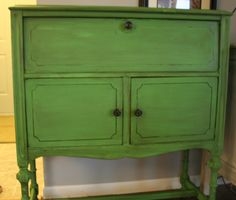 Annie Sloan Chalk Paint Antibes Green with Dark Walnut stain and wax.