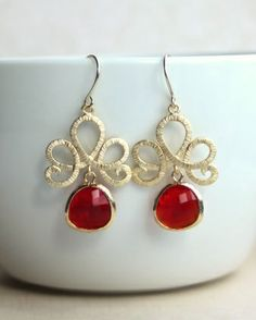 Ruby Red Glass Drops Venetian Gold Filigree  Earrings From Marolsha.