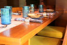 Dining area - Rosenbaum House / 601 Riverview Drive Florence, AL / 1940 / Unisonian / Frank Lloyd Wright -- Former New York model Mildred Rosenbaum made this table runner.