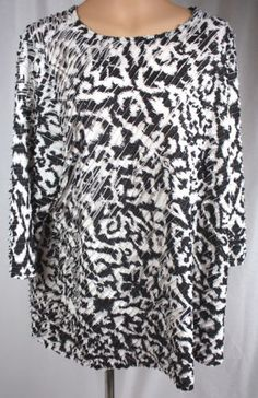 Susan-Graver-Bateau-Neck-3-4-Sleeve-Mini-Ruffle-Tunic-Womens-Size-2X