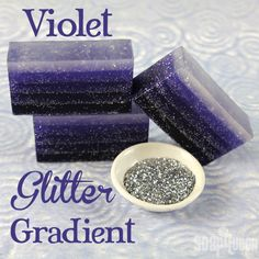 """This Violet Glitter Gradient Soap features layers of purple and lots of glitter! It gives a whole new meaning to the phrase """"sparkly clean. Diy Savon, Savon Soap, Homemade Beauty, Diy Beauty, Homemade Things, Soap Melt And Pour, Soap Tutorial, Homemade Soap Recipes, Handmade Soaps"""
