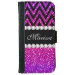 Pink Purple Glitter Cool Modern Black Chevron Wallet Phone Case For iPhone 6/6s