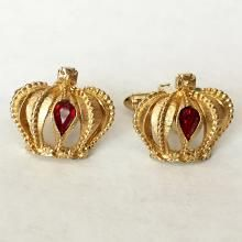 Vintage gold plated ruby color crystals crown shape cufflinks