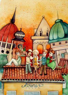 Illusztrátor Pajtások: roth aniko Love Drawings, Naive, Drawing People, Budapest, Illustrators, Folk Art, Illustration Art, Sketches, Ambre