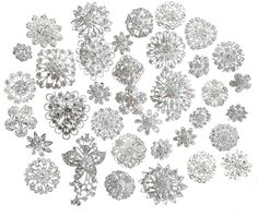 Lot 25pcs Silver Color Sparking Rhinestone Wedding Bridal Crystal Brooches Brooch Pins Bouquet Kit -- For more information, visit image link.