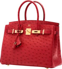 Hermes 30cm Rouge Vif Ostrich Birkin Bag with Gold Hardware