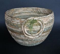 Lake Mist silk basket fiber art basket by JKTextileArts on Etsy Article Gallery Ideas. Weaving Textiles, Weaving Art, Rope Basket, Basket Weaving, Coil Pots, Fabric Bowls, Rope Crafts, Newspaper Crafts, Clothes Line