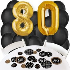 Adult 80th Birthday - Gold - Confetti and Balloon Birthday Party Decorations - Combo Kit