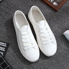 Classic White Sneakers Women Casual Canvas Shoes Female Summer Lace-Up Flat Trainers Fashion Zapatillas Mujer Vulcanize Shoes Cute Sneakers, Classic Sneakers, Best Sneakers, Casual Sneakers, Casual Shoes, Sneakers Women, Women's Casual, Shoes Sneakers, Summer Sneakers