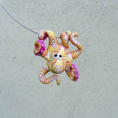 **Original hand-made octopus shaped pendant made of FIMO (polymer clay)** **Unique pendant for uniqiue women who are not affraid to look