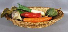 shopgoodwill.com: Vtg Paper Mache Veggies in Oblong Wicker Basket