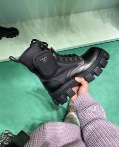 Thoughts on these Prada boots? Dr Shoes, Hype Shoes, Me Too Shoes, Shoes Heels, Prada Shoes, Oxford Shoes, Bow Sneakers, Sneakers Fashion, Fashion Shoes