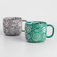 World Market Jolly Hearts Mugs Set of 2