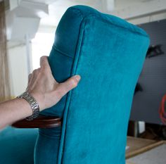 How to upholster the back of a chair or piece of furniture using ply-grip. #upholster #upholstery #plygrip #chairupholstery #furnitureupholstery #finishingupholstery