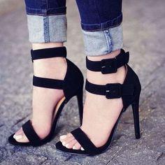 Sexy Sandals, Sexy Heels, Ankle Strap Sandals, Stiletto Heels, High Heels, Dress Sandals, Dress Shoes, Black Heels, Black Sandals