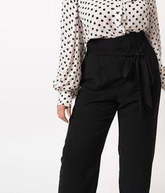d7e35421db77 Plus Size 1940s Style Black Paper Bag High Waisted Myrna Pants. Unique  Vintage ...
